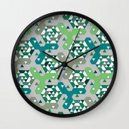 Geometric Mozaik (green) Wall Clock