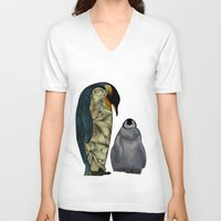 penguins V-neck T-shirts featuring Emperor Penguins by Ben Geiger