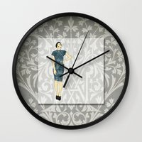 olivia joy Wall Clocks featuring Olivia by Aquamarine Studio