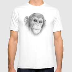 A Chimpanzee :: Not Monkeying Around White Mens Fitted Tee MEDIUM