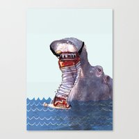 hippo Canvas Prints featuring Hippo by MGNFQ