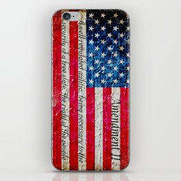 Distressed American Flag and 2nd Amendment On White Bricks Wall iPhone Skin