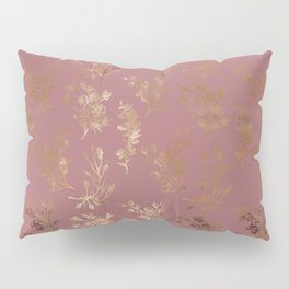 Mauve pink faux gold wildflowers illustration Pillow Sham