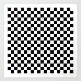Checker (Black & White Pattern) Art Print