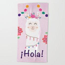 ¡Hola! Cute Pink Alpaca - Boho Llama Illustration Beach Towel