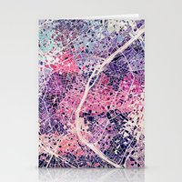 paris map Stationery Cards featuring Paris Mosaic map #1 by Map Map Maps