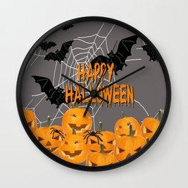 Pumpkins Happy Halloween Illustration Wall Clock