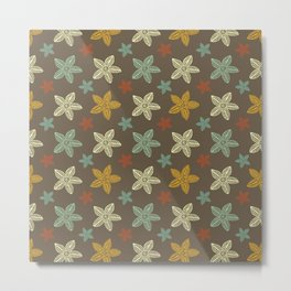 Retro Brown Blue Yellow Gold Polynesian Flowers Pattern Metal Print