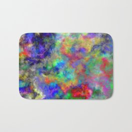 Abstract bright colorful watercolor brushstrokes pattern Bath Mat