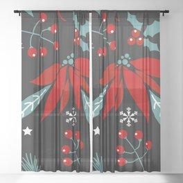 christmas flowers Sheer Curtain