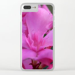 Pink Oleander Flower With Green Leaves in the Background Clear iPhone Case
