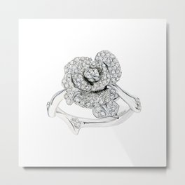 Silver Rose Ring Metal Print