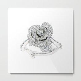 Silver Rose Ring Metal Print