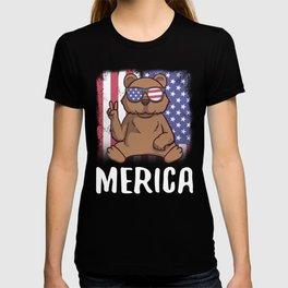Merica Grizzly Bear USA American Flag T-shirt