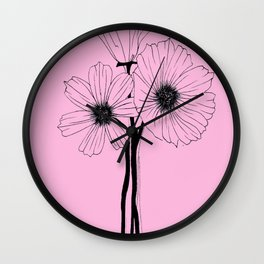 """GORGEOUS TRIO"" Line Illustration Wall Clock"