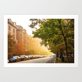 Boston, MA - Commonwealth Avenue Art Print