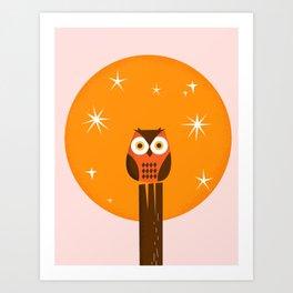 Owl on a Fence Art Print