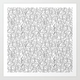 Call Me By Your Name Elios Shirt Faces in Faded Outlines on White CMBYN Art Print