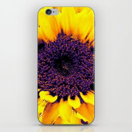 Purple Floral Center Of Butter Yellow Sunflower iPhone Skin