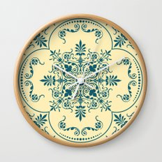 Decorative Pattern in Creme and Blue Wall Clock