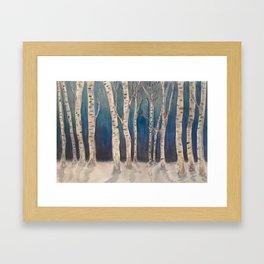 Birch Grove At Midnight Framed Art Print