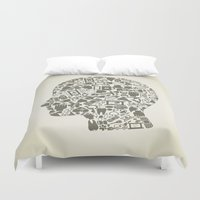 medicine Duvet Covers featuring Head medicine by aleksander1