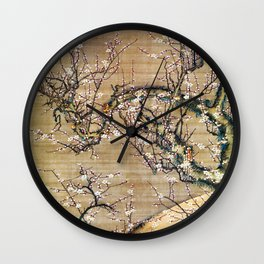 Moonlit Night And White Plum - Digital Remastered Edition Wall Clock