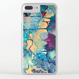 Geometric on wood and paint. Clear iPhone Case