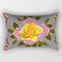 GREY PINK GARDEN FLOWERS YELLOW ROSE  Art Rectangular Pillow