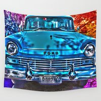 ford Wall Tapestries featuring 1950's Cuba Ford by Brian Raggatt