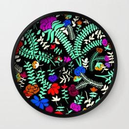 Mexican flowers black print Wall Clock