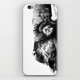 Bison black and white sketch iPhone Skin