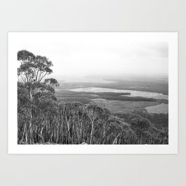 Mount Macedon Lookout in Black and White Art Print
