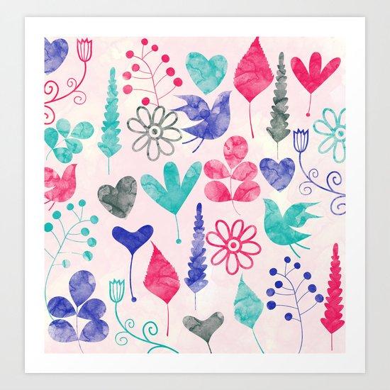 Watercolor Botanical Garden V Art Print
