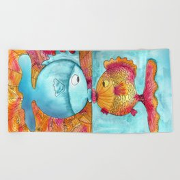 Fish Kiss Beach Towel