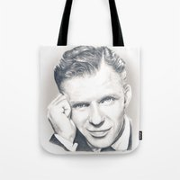 frank sinatra Tote Bags featuring Frank Sinatra by Heather Andrewski