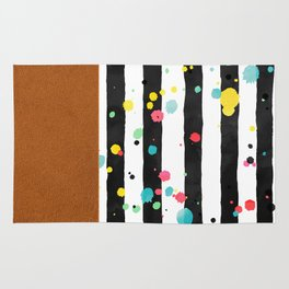 Watercolor splatters with brown leather Rug