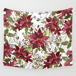 Poinsettia Flowers Wall Tapestry