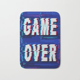 Game Over Glitch Text Distorted Bath Mat