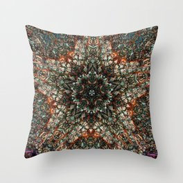 Colorful Stained Spun Glass Window Kaleidoscope Throw Pillow