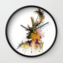 Deer Head Watercolor Silhouette Wall Clock