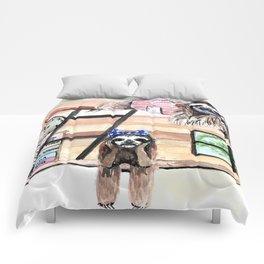 Peek into a treehouse Comforters