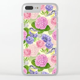Tit bird and flowers Clear iPhone Case