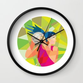 Netball Player Ball Rebound Low Polygon Wall Clock