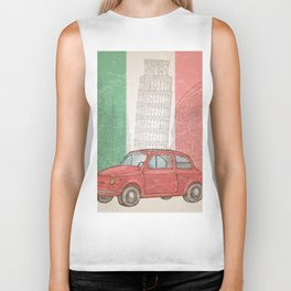 italian flag with colosseum, vintage car, pisa tower and cathedral of milan Biker Tank