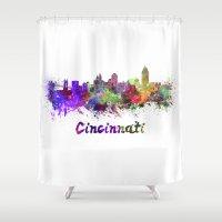 cincinnati Shower Curtains featuring Cincinnati skyline in watercolor by Paulrommer