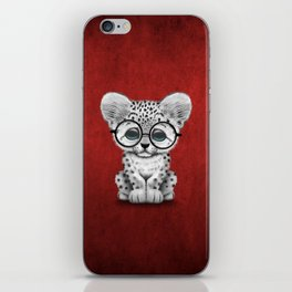 Cute Snow Leopard Cub Wearing Glasses on Deep Red iPhone Skin
