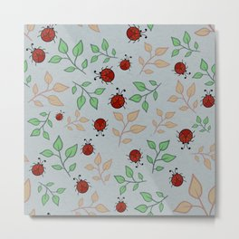 Lady Bug Leaf Pattern Art Metal Print