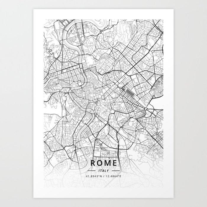 Rome, Italy - Light Map Kunstdrucke