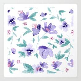 Cute purple flowers pattern Art Print